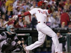 Dominic Brown hit two of five Phillies' home runs Tuesday, tying a season high for the club.