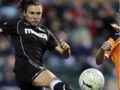 Western New York Flash's Marta kicks the ball against Sky Blue FC during a game in Rochester, N.Y. on June 3.