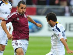 Rapids' Pablo Mastroeni scored his third goal of the season Saturday at Dicks Sporting Goods Park in Colorado. The Galaxy defeated the Rapids 3-1.