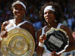 In 2008, Venus Williams, left, defeated her sister, Serena Williams during the women's single Final at Wimbledon.