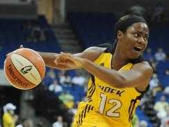 Shock guard Ivory Latta scored 22 points Saturday night in Tulsa as the Shock defeated the Mystics 77-59, their first victory of the season.