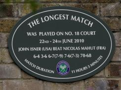 John Isner and Nicolas Mahut are scheduled for their rematch on Tuesday, but at Court 3 and not at Court 18, where a plaque commemorates the 2010 marathon.