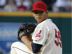 The Indians' Carlos Carrasco tookano-hit bid into the sixth inning of Saturday's 7-3 victory against the Pirates, raising his record to 7-3.