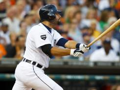 Depth in Detroit: Tigers catcher Alex Avila, above, has more than carried his weight, even outperforming teammate Victor Martinez.