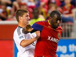 Real Salt Lake forward Jean Alexandre, right,  was suspended and fined $500 for a reckless tackle against D.C. United on Saturday.