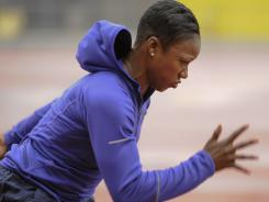 Carmelita Jeter  works out at West Los Angeles College in preparation for the U.S. championships.
