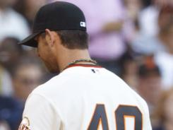 Giants starting pitcher Madison Bumgarner was tagged for eight runs in the first inning Tuesday, as the Twins tied a Major League record. The Twins beat the Giants, 9-2, in San Francisco.