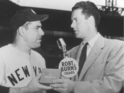 Announcer Bob Wolff, right, with Yogi Berra, called Don Larsen's  perfect game in the 1956 World Series.