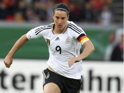 Germany's Birgit Prinz controls the ball  during a women's test match between Germany and Norway in Mainz, Germany on June 16.