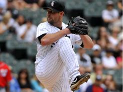 White Sox starter John Danks left in the second inning with an oblique strain, setting up Jake Peavy to come in and make his first career relief appearance.