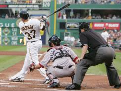Pirates first baseman Lyle Overbay (37) stroked a three-run home run against the Boston Red Sox during the fourth inning at PNC Park in Pittsburgh.