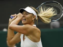 Maria Sharapova of Russia powers her way into the semifinals with a straight-sets victory against Dominika Ciublkova of Slovakia on Tuesday at Wimbledon.