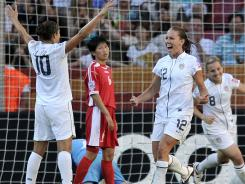 Get it started:  Lauren Cheney, who started ahead of Megan Rapinoe in the midfield,