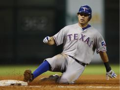 Ian Kinsler had three hits Tuesday night, including a home run and a triple in the sixth inning in the Rangers' 7-3 win over the Astros on Tuesday.