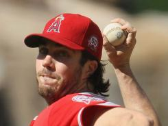 Angels pitcher Dan Haren allowed just two hits in a 1-0 shutout of the Nationals Wednesday in Anaheim.