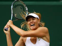 Maria Sharapova of Russia earns a shot at the Wimbledon title with a straight-sets victory Thursday against Sabine Lisicki of Germany in the semifinals.