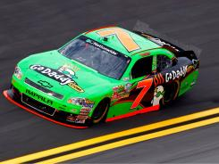 Danica Patrick in the No. 7 GoDaddy.com Chevrolet practices at Daytona before this weekend's Nationwide series race.