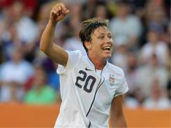 Abby Wambach of the USA celebrates after winning the Women's World Cup Group C match between USA and Korea on Tuesday.