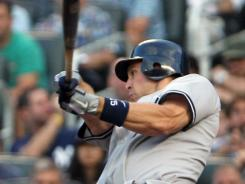 Mark Teixeira strokes a two-run double in the first inning of the Yankees' sixth consecutive win.