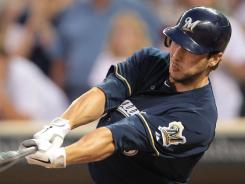 Brewers catcher George Kottaras hit a go-ahead RBI single in the ninth inning Saturday night in a 8-7 win over the Twins.