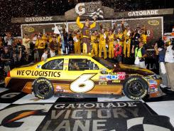 David Ragan celebrates his first career Sprint Cup victory at the Coke Zero 400.