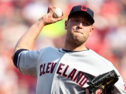 Pitcher Frank Herrmann took the mound after starter Fausto Carmona left with an injury on Saturday. Hermann threw three innings of one-hit ball as the Indians beat the Reds for the fifth time this year, 3-1, in Cincinnati.