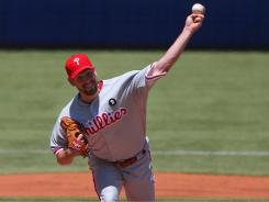 The Phillies' Cliff Lee allowed his first run in 34 innings during Sunday's game against the Blue Jays.