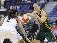 Sue Bird (10) had 17 points, five assists and three steals to help the Storm defeat the Mystics.