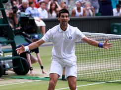 Novak Djokovic of Serbia celebrates championship point after defeating Rafael Nadal of Spain on Sunday in the Wimbledon singles final.