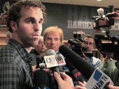 Andrew Ladd talks to the  Winnipeg media during a June 9 to MTS Centre.
