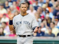 Alex Rodriguez, seen here Wednesday in Cleveland,  has gone 85 at-bats without a homer, his longest single-season drought in his career.