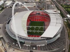 An aerial view of Wembley Stadium taken Tuesday, which will host soccer  during the London 2012 Olympic Games.
