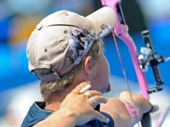 Brady Ellison shoots an arrow during the Archery World championships  on July 10.