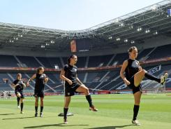 The U.S. players exercise during  training in Moenchengladbach, Germany, on July 12.