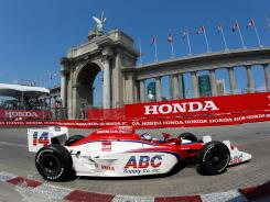 Vitor Meira races down the street course in Toronto during practice for last Sunday's Izod IndyCar race.
