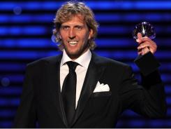 Dallas Mavericks forward Dirk Nowitzki accepts the award for Best Male Athlete  the 2011 ESPY Awards. He also won Best NBA Player.