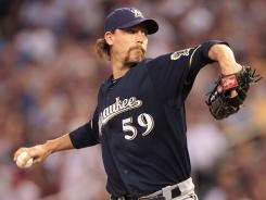 The Brewers are making a push for the playoffs, hoping either John Axford, above, or newly-acquired Francisco Rodriguez can shut down opponents late in ballgames.