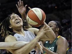 Danielle Adams scored 15 of her 23 points in the fourth quarter Thursday, lifting the Silver Stars to a 69-66 win over the Storm.