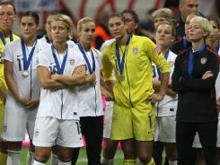 A dejected U.S. team looks on after losing the FIFA Women's World Cup Final to Japan.