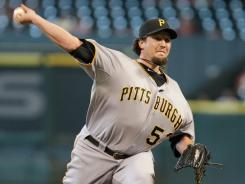 Pirates All-Star closer Joel Hanrahan blew his first save of the year Sunday, but Pittsburgh rallied in the 11th to retake the lead for the win.