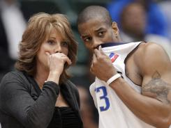 Nancy Lieberman, instructing Texas Legends player Antonio Daniels during an NBA D-League game on March 30, will be an assistant general manager with the team next season.