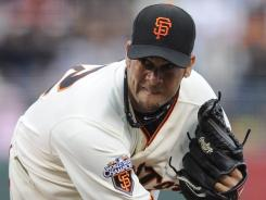 Giants pitcher Ryan Vogelsong struck out five, and combined with two relievers to shut out the Dodgers 5-0 Monday night. The Giants won their fifth straight against the Dodgers, and have won eight of their last 10 games.