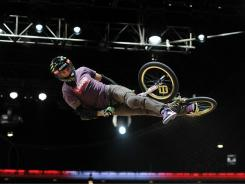 Jamie Bestwick competes to a gold medal in the BMX Freestyle Vert Final during X Games 16 at the Nokia Theatre LA Live on July 30, 2010 in Los Angeles.