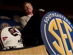 "South Carolina coach Steve Spurrier likes the team he's assembled this season but says ""taking that next step and winning the SEC is what we're trying to do. We're not there yet."""