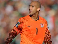 Goalkeeper Tim Howard  reacts during the USA's game against Mexico during the CONCACAF Gold Cup final at the Rose Bowl on June 25. Mexico won 4-2.