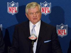 Carolina Panthers owner Jerry Richardson speaks at the press conference after the NFL owners' meeting in Atlanta.