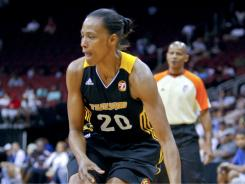 Former Olympic track star Marion Jones spent 1 1/2 seasons as a guard for the Tulsa Shock. Jones ran track and played point guard at the University of North Carolina in the 1990s.