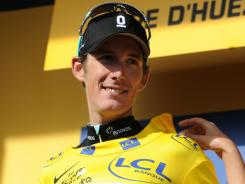 Andy Schleck wears the yellow jersey after taking over the lead of the Tour de France after Stage 19 to Alpe d'Huez.