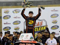 Austin Dillon celebrates in victory lane after his first win of the season.