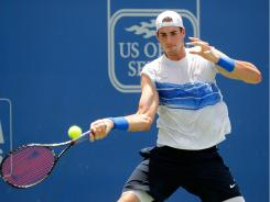 John Isner beat Luxembourg's Gilles Muller in the semifinals of the Atlanta Tennis Chamiponships on Saturday. He'll play in the tournament's final for the second consecutive year on Sunday.